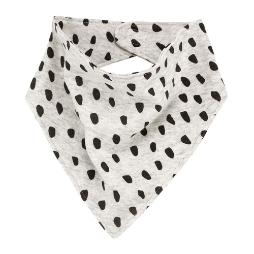 Organic Cotton Bandana Bib, Black Dot