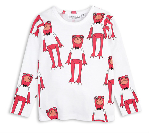 Mini Rodini Long Sleeve Frog Tee, Cerise