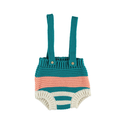 Knitted Shorty Overalls, Emerald/Coral
