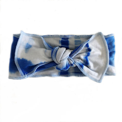 Jersey Knot Bow, Baby Blue Tie Dye
