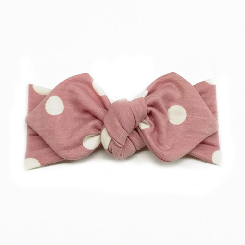 Top Knot Headband, Blush Dot