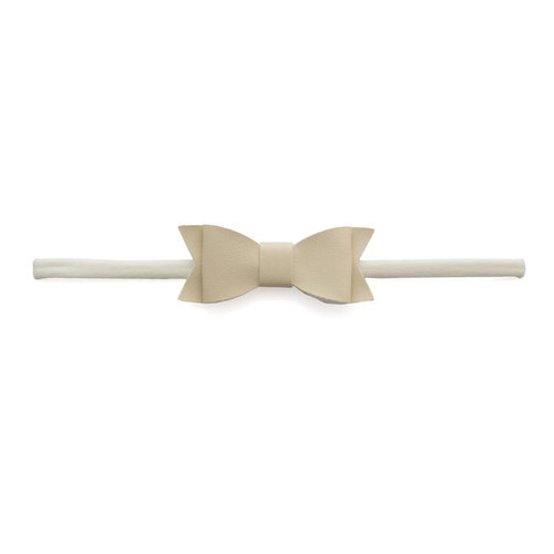 Skinny Leather Bow, New Ivory