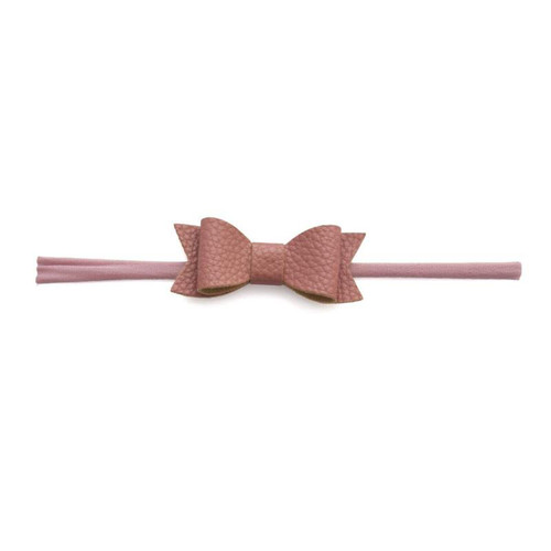 Skinny Leather Bow, Mauve