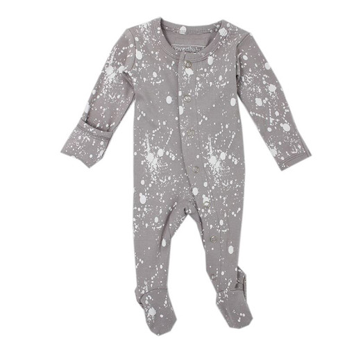 Organic Footed Overall, Light Gray Splatter