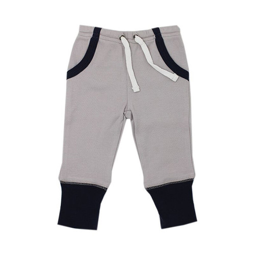 Organic Jogger Pants, Navy/Light Gray