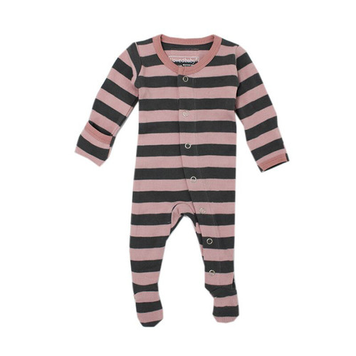 Organic Footed Overall, Mauve/Gray Stripe