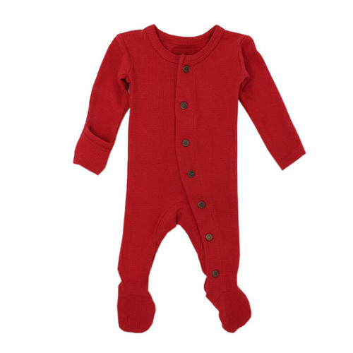 Organic Thermal Footed Overall, Ruby