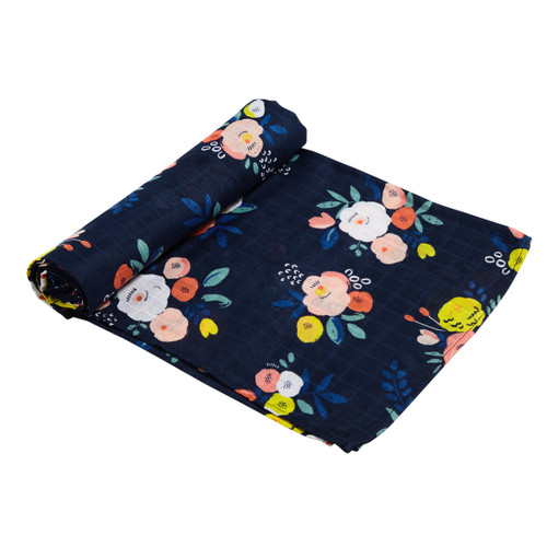 Muslin Swaddle, Midnight Blooms
