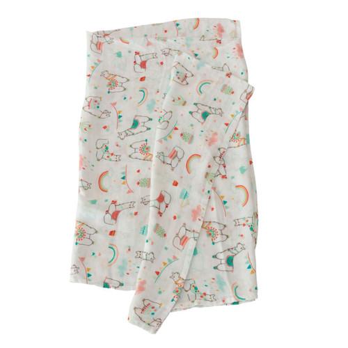Llamas & Rainbows Bamboo Swaddle