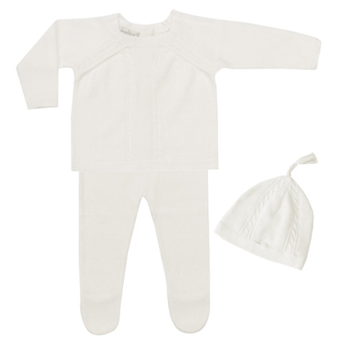 Newborn Cable Knit 3-Piece Set, Ivory
