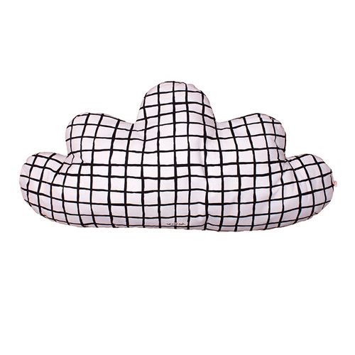 Large Cloud Pillow, Black Grid