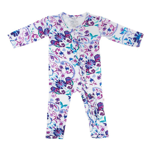 Ruffle Romper, Violet Watercolor Floral