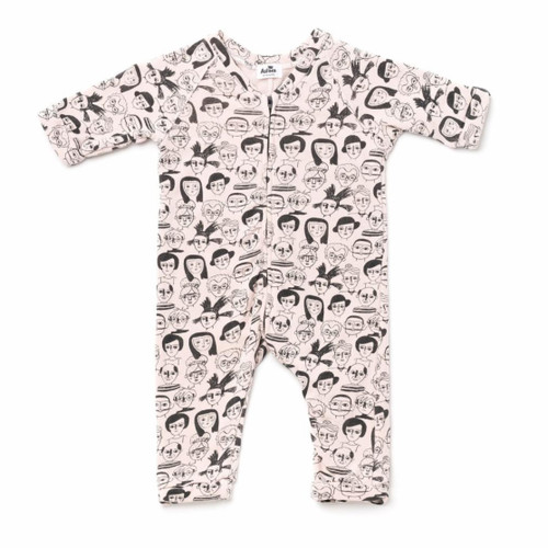 Artists Zip Sweatshirt Romper, Pink