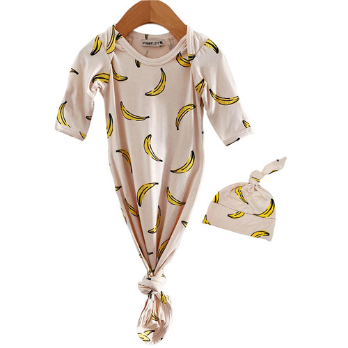 Bamboo Knotted Gown & Hat Set, Bananas