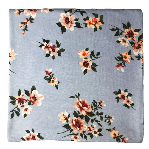 Jersey Stretch Swaddle, Periwinkle Floral