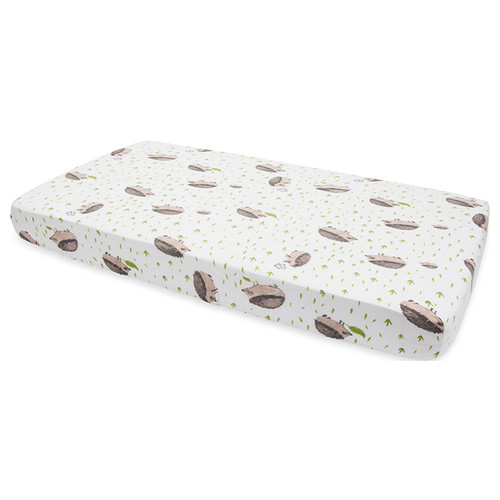 Muslin Fitted Crib Sheet Hedgehog Spearmint Ventures Llc