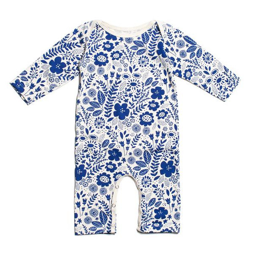 Organic Cotton LS Romper, Wildflowers Blue