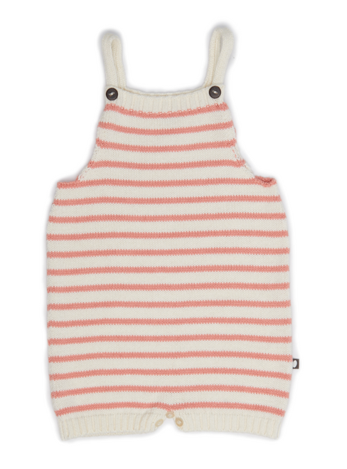 Oeuf Knit Romper, Peach Stripes