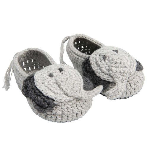 Elephant Hand-Crocheted Booties, 0-6 mo.
