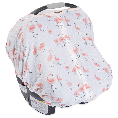 Cotton Muslin Car Seat Canopy Pink Ladies Flamingo