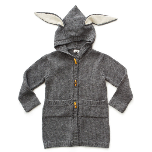 Oeuf Bunny Toggle Sweater, Dark Grey