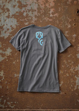 THE ORIGINAL ROULEUR BREWING T-SHIRT – FEMALE – HEAVY METAL GREY WITH TEAL BLUE