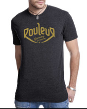 THE ORIGINAL ROULEUR BREWING T-SHIRT – MALE – CHARCOAL GREY WITH YELLOW