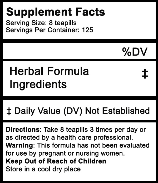 Organic herbal tea pill fact label