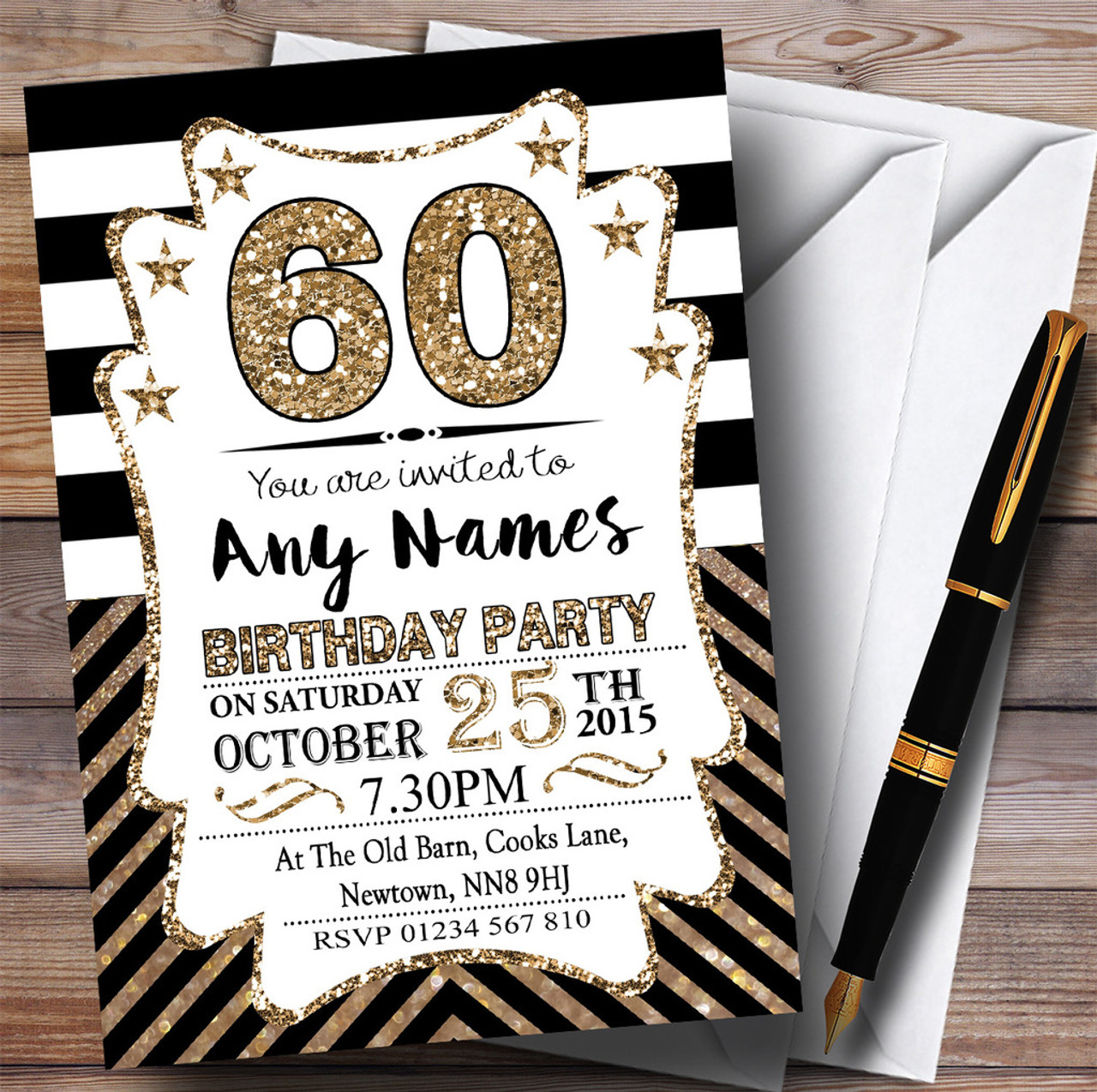 Black & White Bronze Chevrons 60th Personalized Birthday Party ...