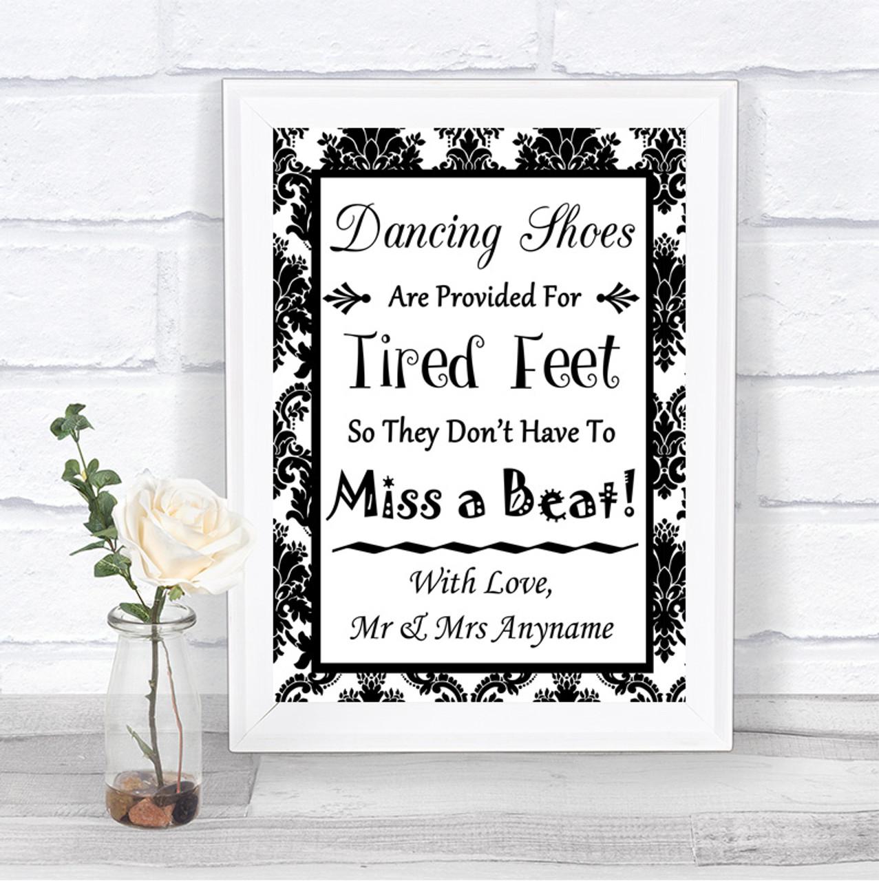 53ab75df28583e Black   White Damask Dancing Shoes Flip-Flop Tired Feet Wedding Sign ...