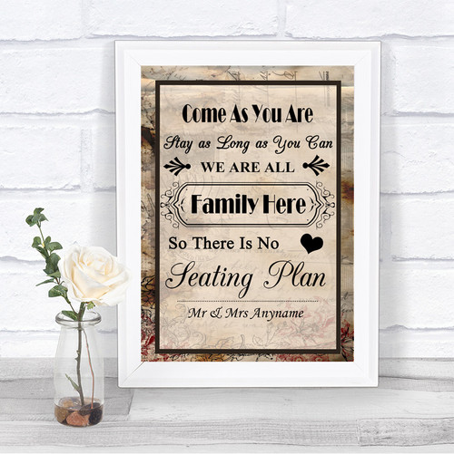 autumn vintage all family no seating plan personalized wedding sign