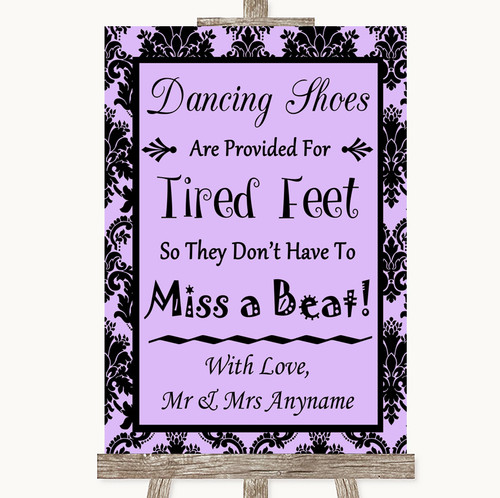 e4ce05fd7 Lilac Damask Dancing Shoes Flip-Flop Tired Feet Personalized Wedding Sign  ...