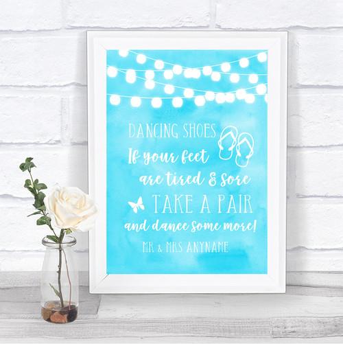 1272931e2 Aqua Sky Blue Watercolour Lights Dancing Shoes Flip Flops Wedding Sign