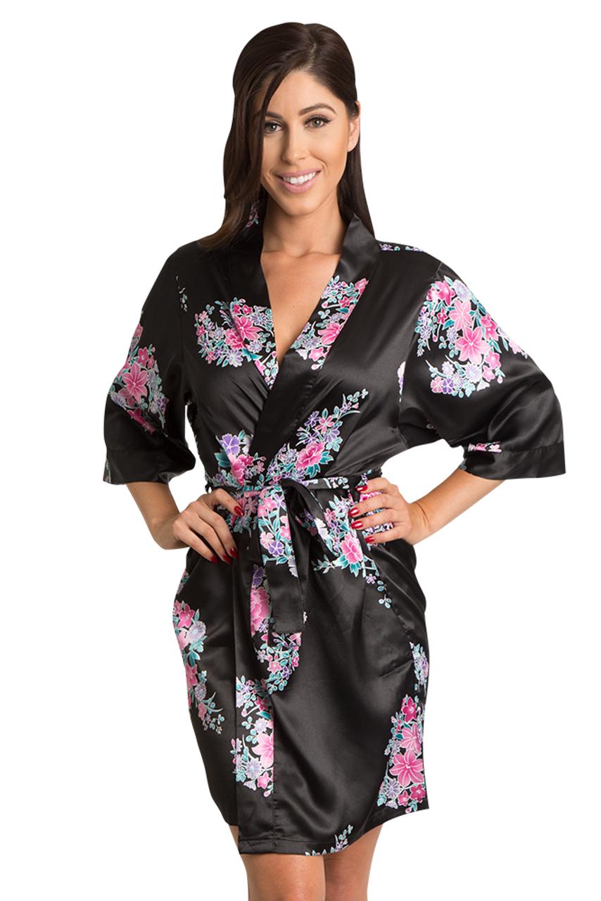 5b2cf30102 Satin Floral Print Robes