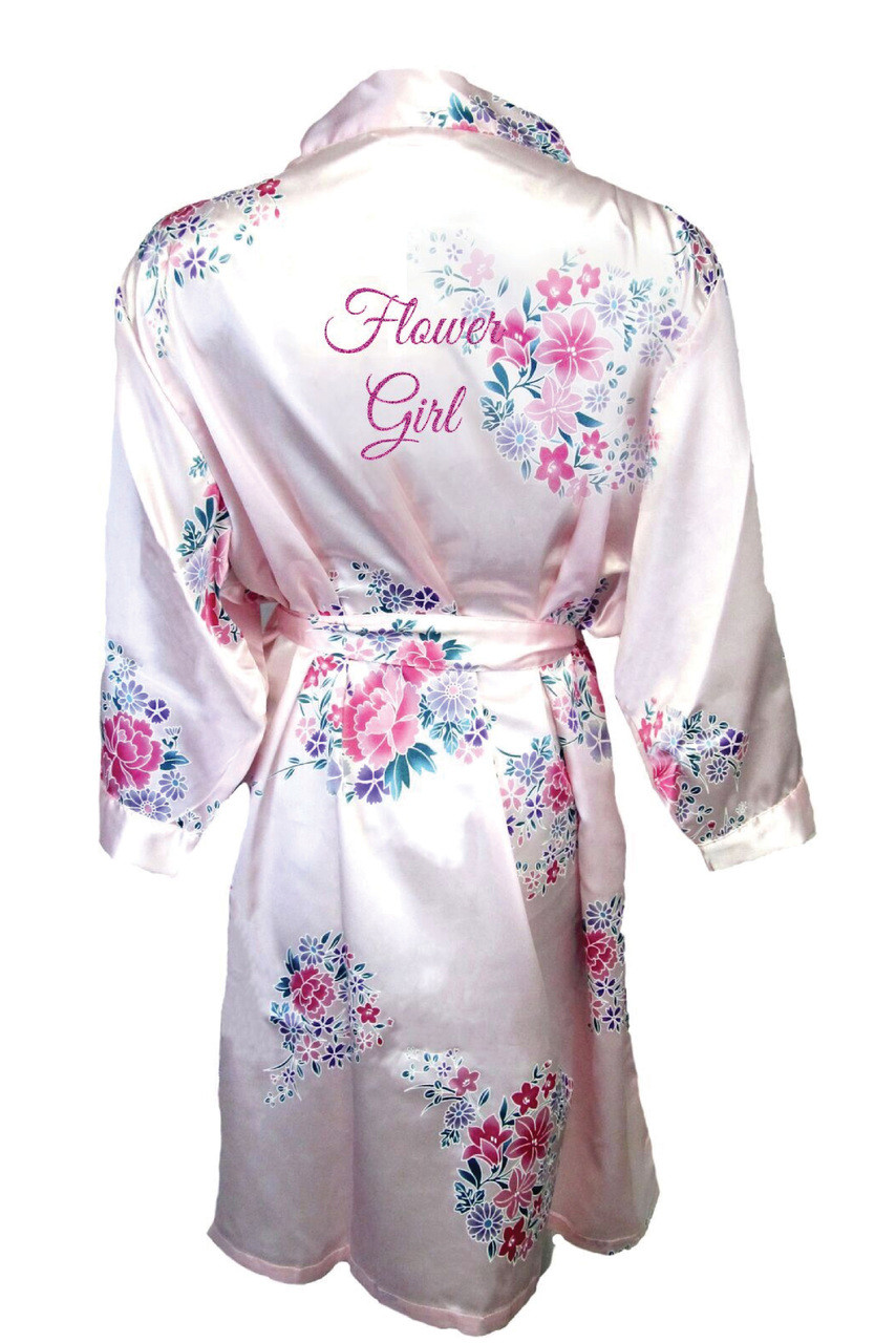 6402bbd608 Pink Floral Flower Girl Satin Robe with Glitter Print