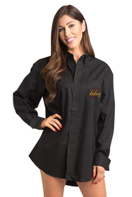 Zynotti Personalized Embroidered Name and Initial Overlay Oversized Black Oxford Shirt