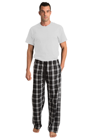 Zynotti Groom Print Black and White Plaid Flannel Pajama Lounge Wear Pants