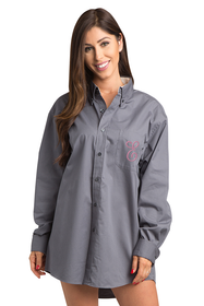 Zynotti Personalized Embroidered Initial Oversized Charcoal Gray Oxford Shirt