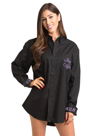 Zynotti Personalized Embroidered Black Oversized Button Down Oxford Polo Shirt