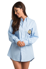 Zynotti Personalized Embroidered Anchor Monogram Oversized Light Blue Oxford Shirt