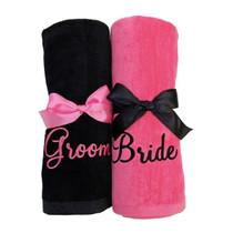 """Groom &  Bride Beach Towel Sample """"Black and Bright Pink"""""""