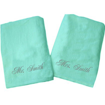 """Mr. Smith and Mrs. Smith Beach Towel Sample """"Mint"""""""