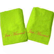 """Just Married Beach Towel Sample """"Lime Green"""""""