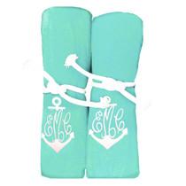 "Monogram Anchor Beach Towel Sample ""Mint"""