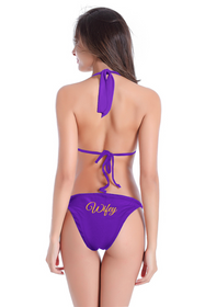 Glitter Print Wifey Bikini with String Halter Top and Sash Tie Bottom