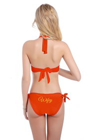 Glitter Print Wifey Bikini with Halter Top and Sash Tie Bottom