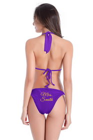 Personalized Mrs. Bikini  with String Halter and Sash Tie Bottom