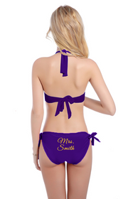 Personalized Glitter Print Mrs. Bikini - Halter Top and Sash Tie Bottom