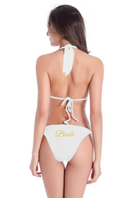 Customized Bride on String Halter and Sash Tie Bikini Bottom with Glitter Print