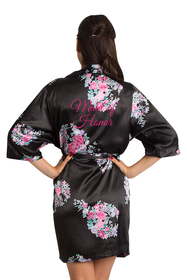 Zynotti Glitter Print Black Floral Maid of Honor Satin Robe